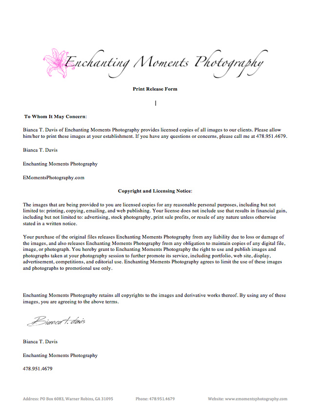 Photographer Release Forms General Photo Release Form Photography